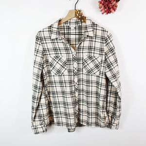 [FOSSIL] Flannel Button Front Skirted Plaid Top